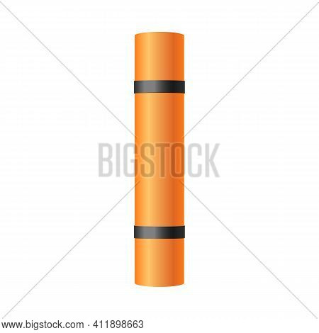 Template Of Rolled Folded Mat For Yoga Realistic Vector Illustration Isolated.