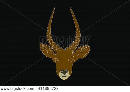 Antelope Drawing. Antelope Head Full Face. Simple Linear Drawing Of An Antelope. Wild Animal