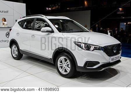 Brussels - Jan 9, 2020: Mg Zs Ev Electric Suv Car Model Showcased At The Brussels Autosalon 2020 Mot