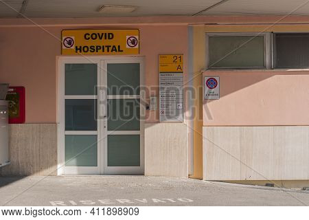Pisa, Italy - March 10, 2021 - The Main Entrance Of A Covid Hospital In Pisa, Italy