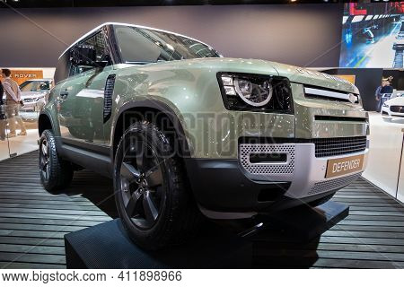 Brussels - Jan 9, 2020: New Land Rover Defender 2020 Car Showcased At The Brussels Autosalon 2020 Mo
