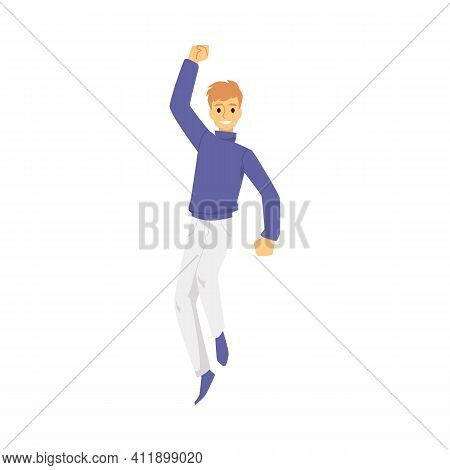 Happy Cheerful Man Jumping In Air From Happiness - Cartoon Person