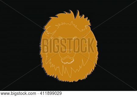 Drawing Of A Lion. Lion Head Full Face. Simple Linear Drawing Of A Lion. Wild Animal