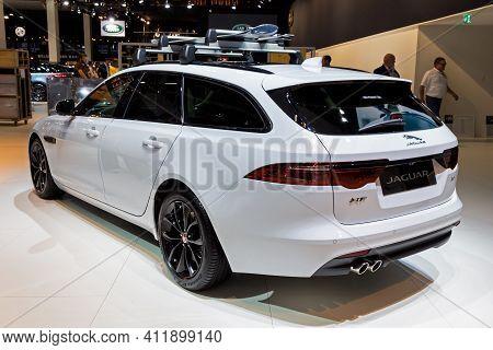 Brussels - Jan 9, 2020: New Jaguar Xf Sportbrake Car Model Showcased At The Brussels Autosalon 2020