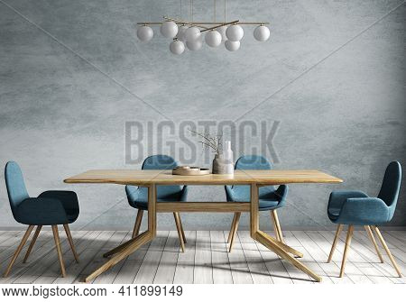 Interior Design Of Modern Dining Room, Wooden Table And Blue Chairs Against Stucco Wall. Home Design