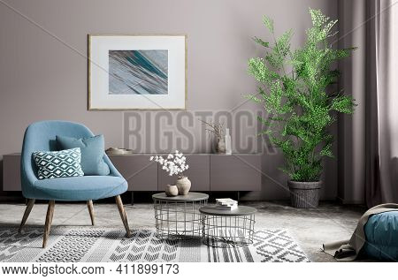 Interior Of Living Room With Coffee Tables And Stylish Blue Armchair, Modern Home Design. Frame Post