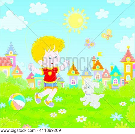 Happy Little Boy Jumping Rope With His Cute And Merry Pup In A Green Summer Park Of A Small Town, Ve
