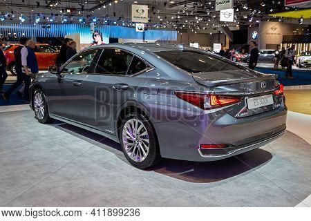 Brussels - Jan 9, 2020: Lexus Es 300h  Luxury Hybrid Sports Saloon Car Model Showcased At The Brusse
