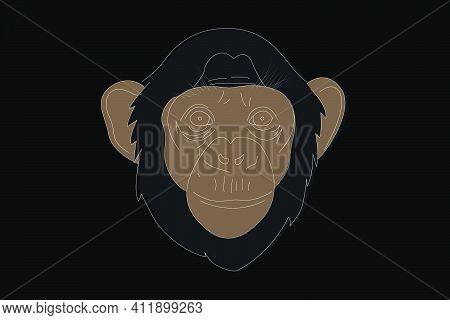 Monkey Drawing. Monkey Head Full Face. Simple Linear Drawing Of A Monkey. Wild Animal