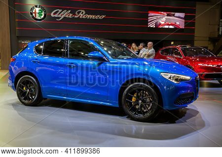 Brussels - Jan 9, 2020: New Alfa Romeo Stelvio Veloce  Car Model Showcased At The Brussels Autosalon