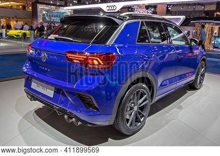 Brussels - Jan 9, 2020: New Volkswagen T-roc R Car Model Showcased At The Brussels Autosalon 2020 Mo