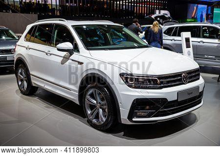 Brussels - Jan 9, 2020: New Volkswagen Tiguan Car Model Showcased At The Brussels Autosalon 2020 Mot