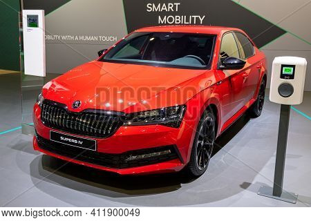 Brussels - Jan 9, 2020: New Skoda Superb Iv Hybrid Car Model Showcased At The Brussels Autosalon 202