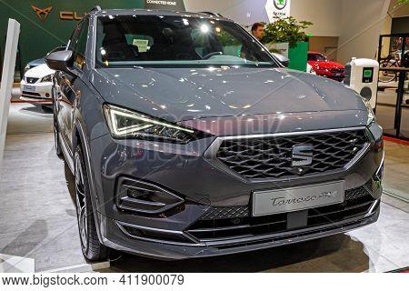 Brussels - Jan 9, 2020: New Seat Tarraco Fr Phev Performance Hybrid Car Model Showcased At The Bruss