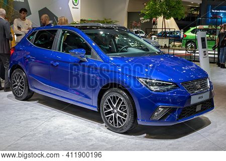 Brussels - Jan 9, 2020: New Seat Ibiza Car Model Showcased At The Brussels Autosalon 2020 Motor Show