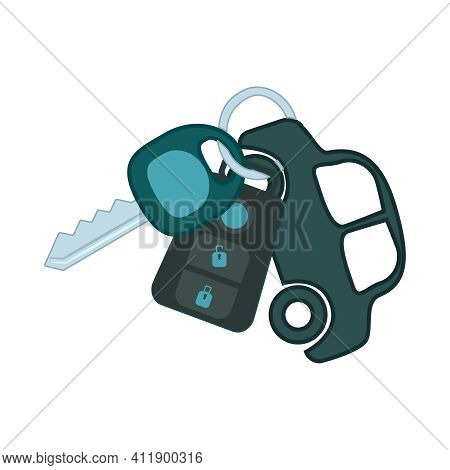 Car Key Isolated On White Background. Automobile Key Ring With Alarm System And Small Car As Keyring