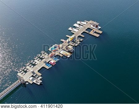 Aerial View Of Miramar Lake Small Pier With Pedal Boat, Small Motor Boat. Lake With Popular Activiti