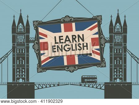Vector Banner On The Theme Of Learning English For A Language School Or Online Courses. Decorative I