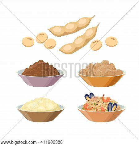 Kinako, Miso, Soy Meat, Tofu, Soy Pasta With Seafood, Soy Beans. Soybean Products - Vector Illustrat