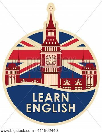 Vector Logo Or Icon On The Theme Of Learning English For A Language School Or Online Course. Round B