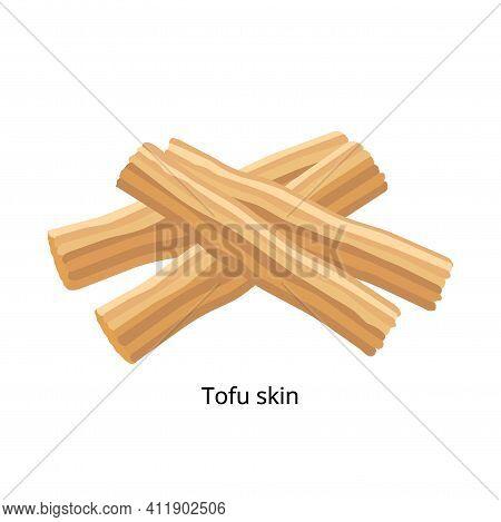 Tofu Skin, Yuba, Bean Curd Skin, Bean Curd Sheet, Or Bean Curd Robes. Soybean Product - Vector Illus