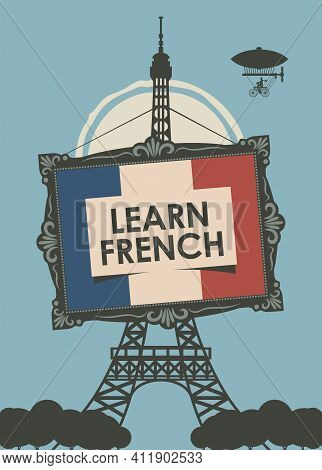 Vector Banner On The Theme Of Learning French For Language Schools Or Online Courses. Decorative Ill