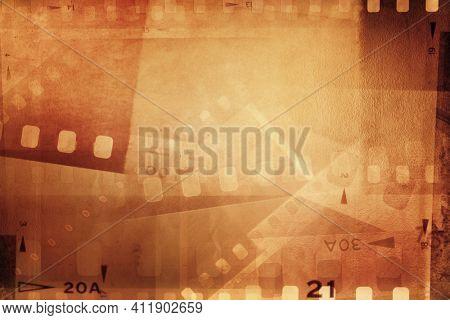 Film negative frames overlap background.