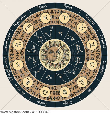 Vector Circle Of Zodiac Signs In Retro Style With Icons, Names, Constellations, Moon, Sun And Magic