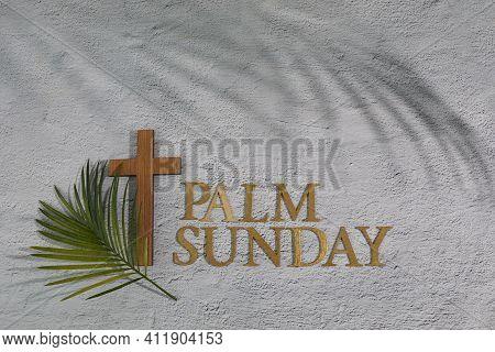 Palm Sunday Background. Cross And Palm On Grey Background.