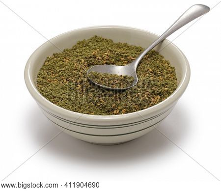 zaatar,  middle eastern herb spice mixture in bowl