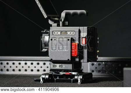 Kyiv, Ukraine - 04.17.2020: Studio Shoot Of Professional 5k Video Camera Red Dsmc2 With Out Lens, Cl