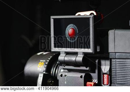 Kyiv, Ukraine - 04.17.2020: Studio Shoot Of Professional 5k Video Camera Red Dsmc2, Close-up. Profes