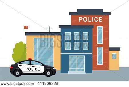 Police Station Building Exterior With Police Car. City Police Department House Facade And Vehicle. V