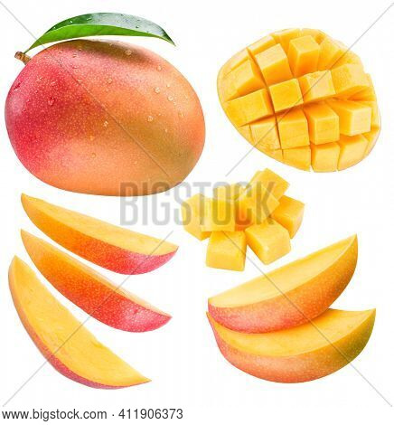 Mango fruit with mango cubes and leaves isolated on a white background. Organic food.