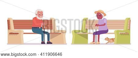 Old Man, Woman Elderly Person Sitting On Bench With Cane. Senior Citizens Over 65 Years, Retired Gra