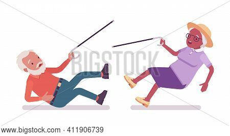 Old Man, Woman Elderly Person With Cane In Slippery Accident. Senior Citizens Over 65 Years, Retired