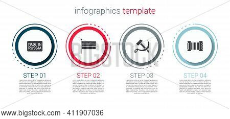Set Made In Russia, National Flag, Hammer And Sickle Ussr And Accordion. Business Infographic Templa