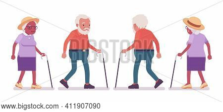 Old Man, Woman Elderly Person With Walking Cane. Senior Citizens Over 65 Years, Retired Grandparent,