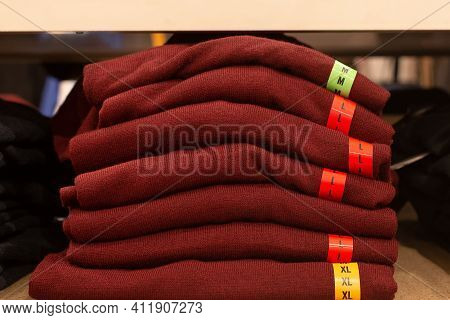 Knitwear, A Stack Of Red Sweaters, Clothing