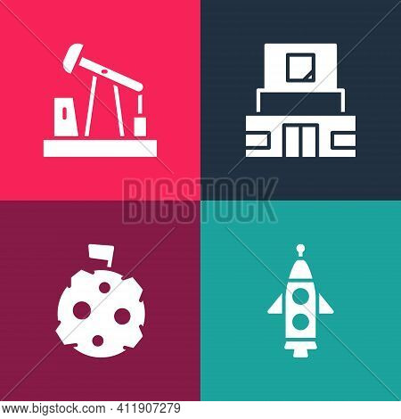 Set Pop Art Rocket Ship, Moon With Flag, Mausoleum Of Lenin And Oil Pump Or Pump Jack Icon. Vector