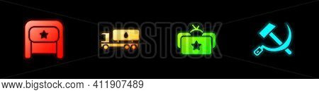 Set Ushanka, Tanker Truck, And Hammer And Sickle Ussr Icon. Vector