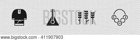 Set Kosovorotka, Balalaika, Wheat And Russian Bagels Icon. Vector