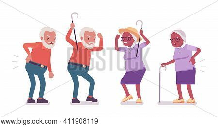 Old Man, Woman Elderly Person With Cane Having Back Ache. Senior Citizens Over 65 Years, Retired Gra
