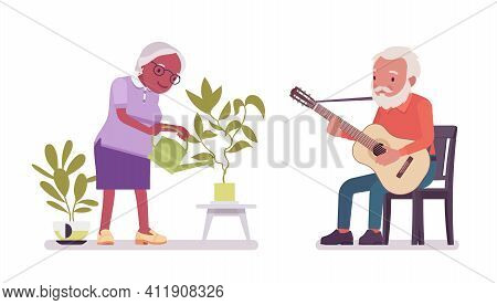 Old Man, Woman Elderly Person Watering Plant, Playing Guitar. Senior Citizens Over 65 Years, Retired