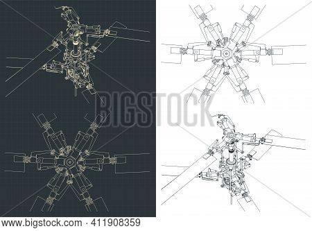 Helicopter Coaxial Main Rotor Blueprints