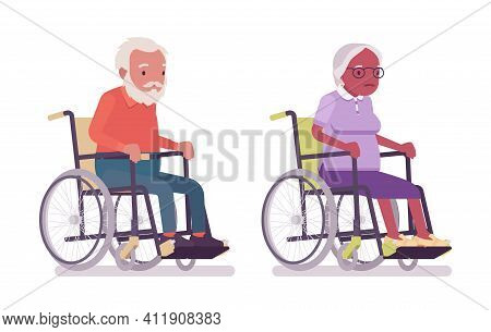 Old Man, Woman Elderly Person Sitting In A Wheelchair. Senior Citizens Over 65 Years, Retired Grandp