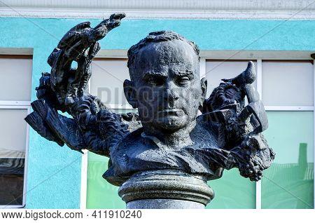 Monument To Ulas Samchuk In Zdolbunov. Rivne Region. Ukraine.