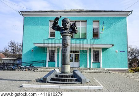 Zdolbuniv. Rivne Region. Ukraine. March 2021.monument To Ulas Samchuk, A Ukrainian Expat Writer, Pub