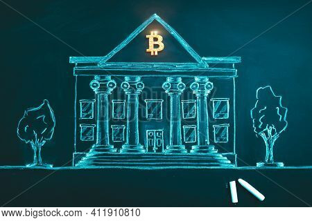 Bitcoin Banking Symbol. Concept Of Bitcoin Mass Adoption Of Hedge Funds, Pension Funds, Vc Capital,
