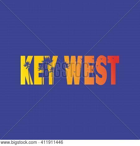 Key West Florida Paradise Sunset Colorful Palm Tree Vacations Holidays Poster.